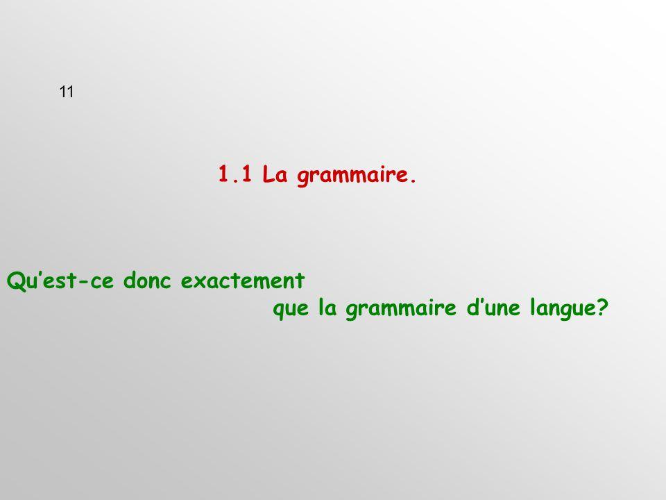 1.1 La grammaire. Quest-ce donc exactement que la grammaire dune langue 11