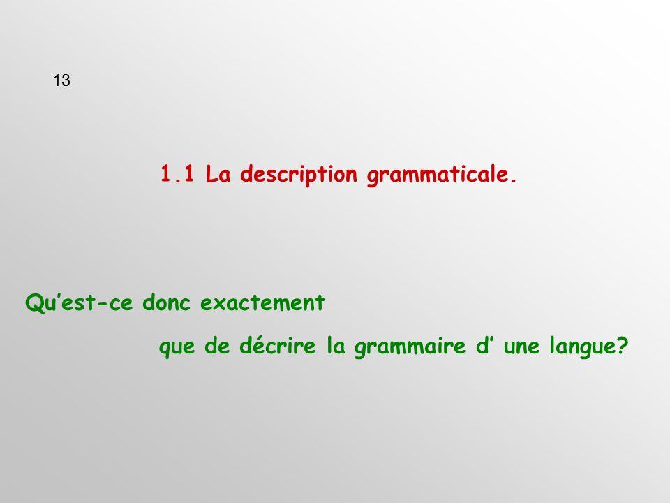 1.1 La description grammaticale. Quest-ce donc exactement que de décrire la grammaire d une langue.