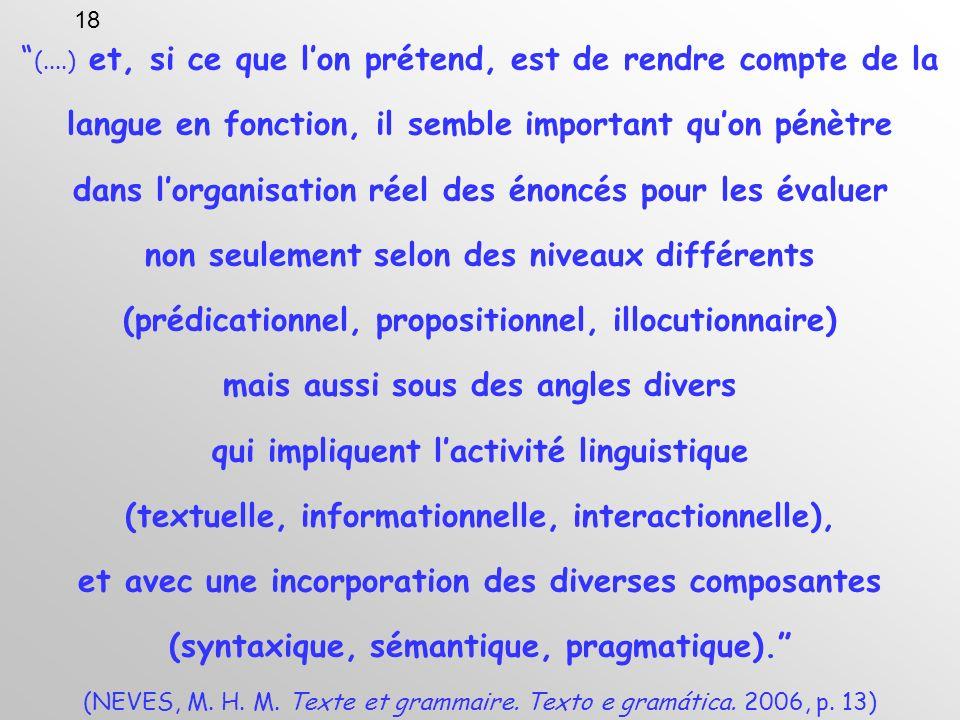 (....) et, si ce que lon prétend, est de rendre compte de la langue en fonction, il semble important quon pénètre dans lorganisation réel des énoncés pour les évaluer non seulement selon des niveaux différents (prédicationnel, propositionnel, illocutionnaire) mais aussi sous des angles divers qui impliquent lactivité linguistique (textuelle, informationnelle, interactionnelle), et avec une incorporation des diverses composantes (syntaxique, sémantique, pragmatique).