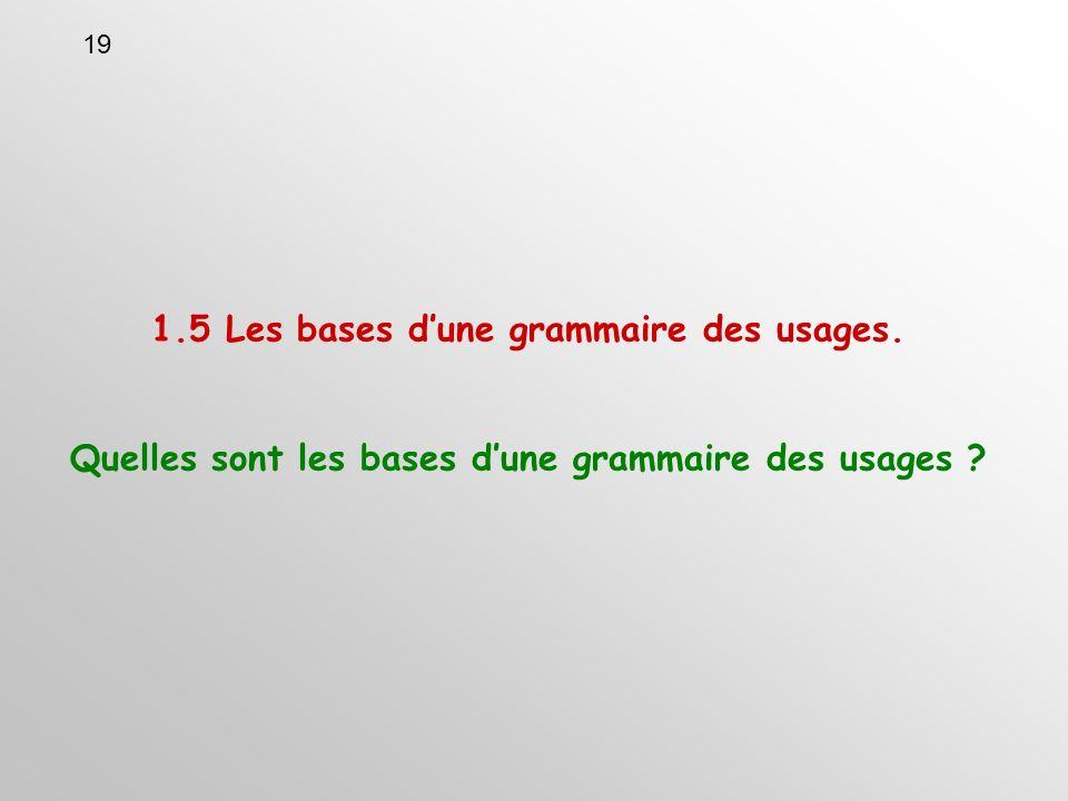 1.5 Les bases dune grammaire des usages. Quelles sont les bases dune grammaire des usages 19