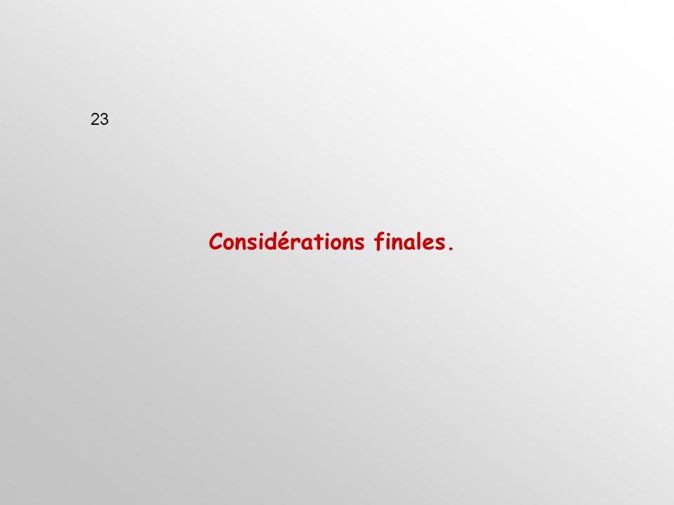 Considérations finales. 23