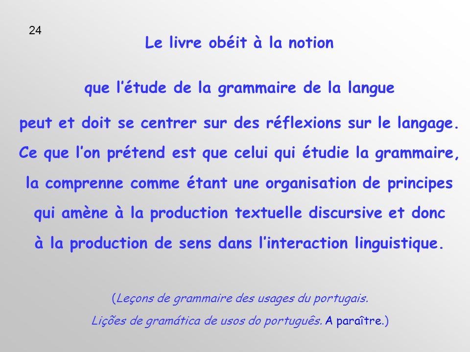 Le livre obéit à la notion que létude de la grammaire de la langue peut et doit se centrer sur des réflexions sur le langage.