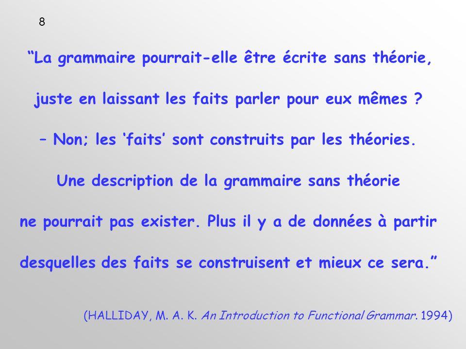 La grammaire pourrait-elle être écrite sans théorie, juste en laissant les faits parler pour eux mêmes .