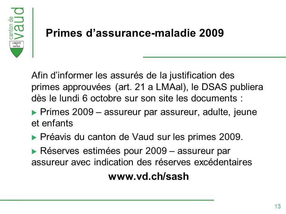 13 Primes dassurance-maladie 2009 Afin dinformer les assurés de la justification des primes approuvées (art.