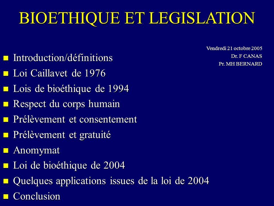 Introduction/définitions Introduction/définitions Loi Caillavet de 1976 Loi Caillavet de 1976 Lois de bioéthique de 1994 Lois de bioéthique de 1994 Re