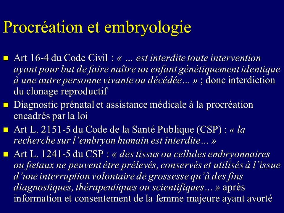 Procréation et embryologie Art 16-4 du Code Civil : « … est interdite toute intervention ayant pour but de faire naître un enfant génétiquement identi