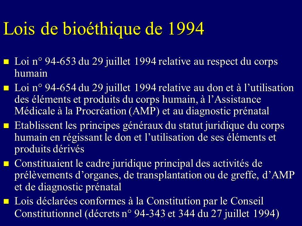 Lois de bioéthique de 1994 Loi n° 94-653 du 29 juillet 1994 relative au respect du corps humain Loi n° 94-653 du 29 juillet 1994 relative au respect d