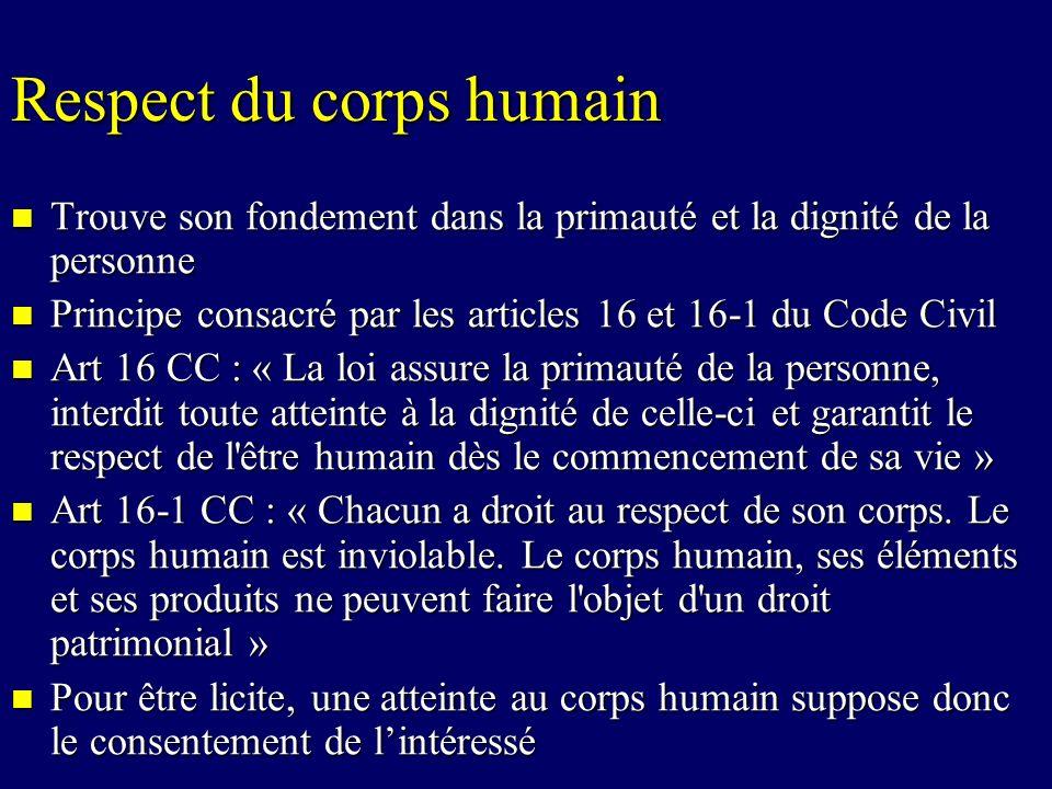 Respect du corps humain Trouve son fondement dans la primauté et la dignité de la personne Trouve son fondement dans la primauté et la dignité de la p
