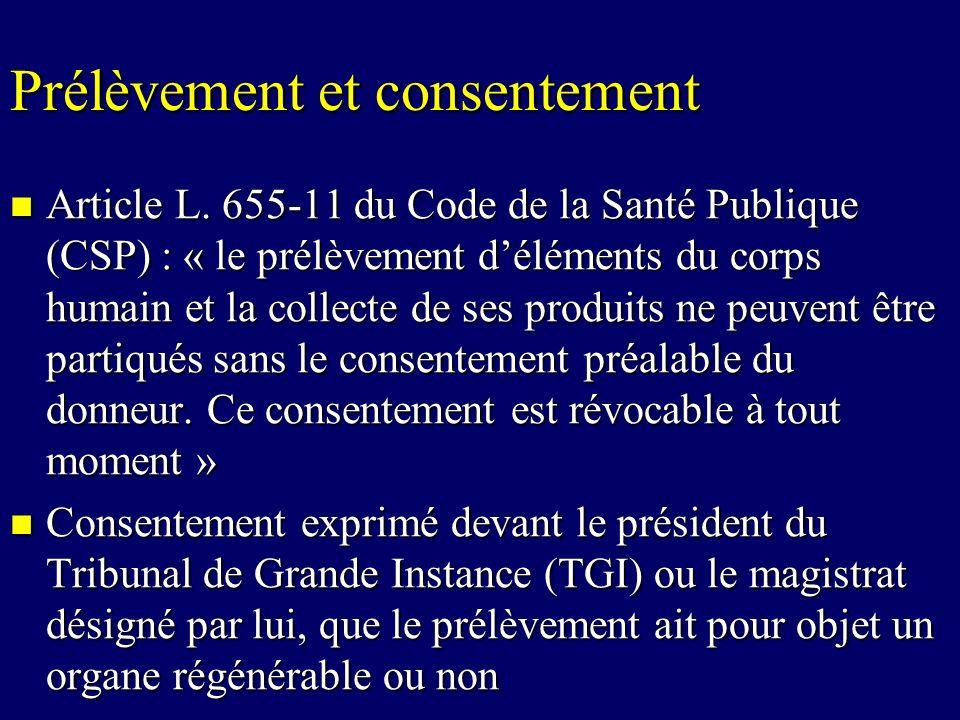 Prélèvement et consentement Article L. 655-11 du Code de la Santé Publique (CSP) : « le prélèvement déléments du corps humain et la collecte de ses pr