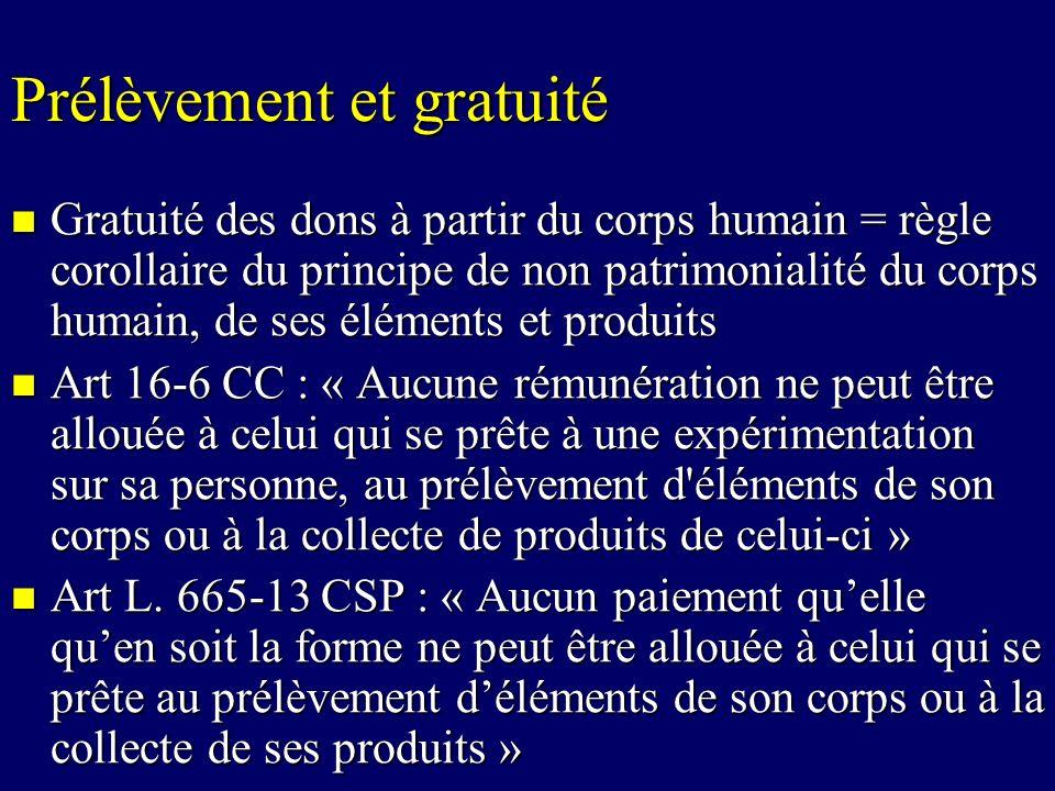 Prélèvement et gratuité Gratuité des dons à partir du corps humain = règle corollaire du principe de non patrimonialité du corps humain, de ses élémen