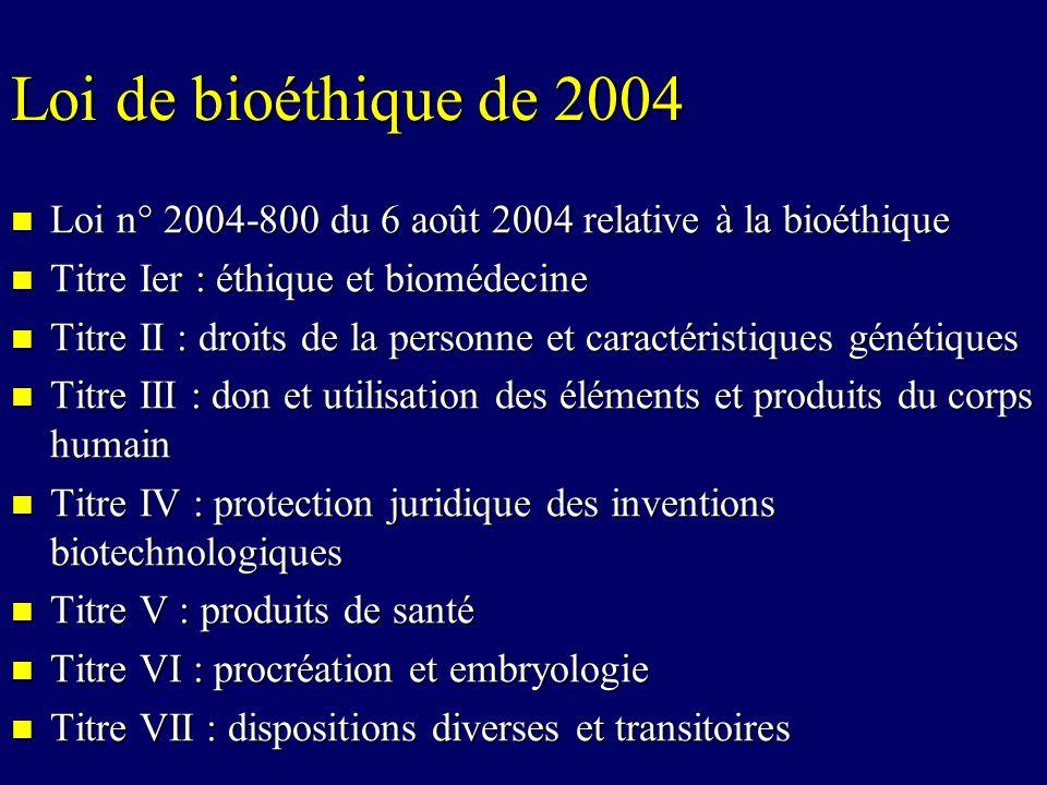 Droits de la personne et caractéristiques génétiques Art 16-10 du Code Civil : « lexamen des caractéristiques génétiques dune personne ne peut être entrepris quà des fins médicales ou de recherche scientifique.