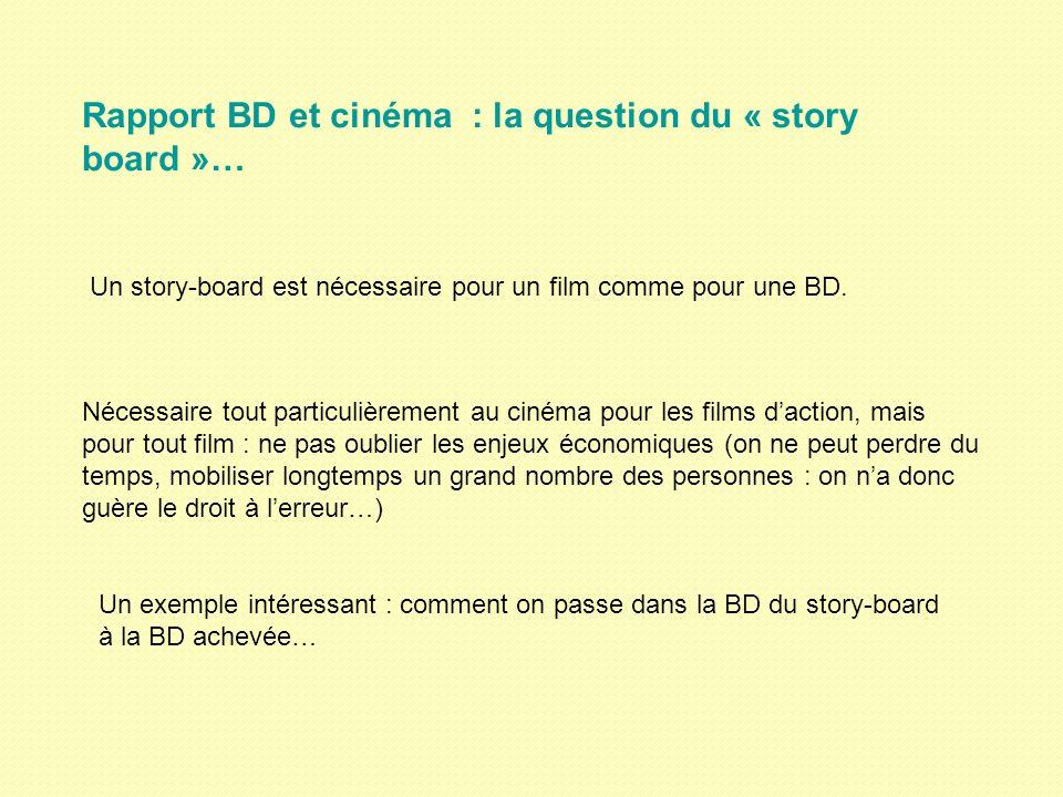 Rapport BD et cinéma : la question du « story board »… Un story-board est nécessaire pour un film comme pour une BD. Nécessaire tout particulièrement