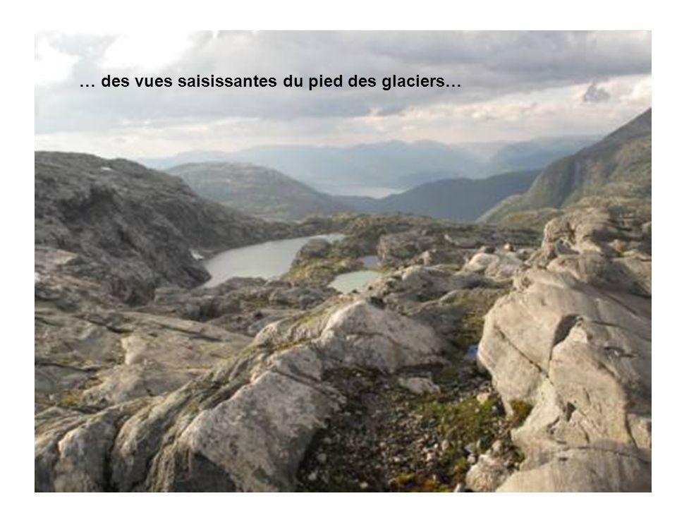 … des vues saisissantes du pied des glaciers…