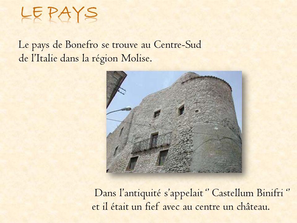 Le pays de Bonefro se trouve au Centre-Sud de lItalie dans la région Molise. Dans lantiquité sappelait Castellum Binifri et il était un fief avec au c