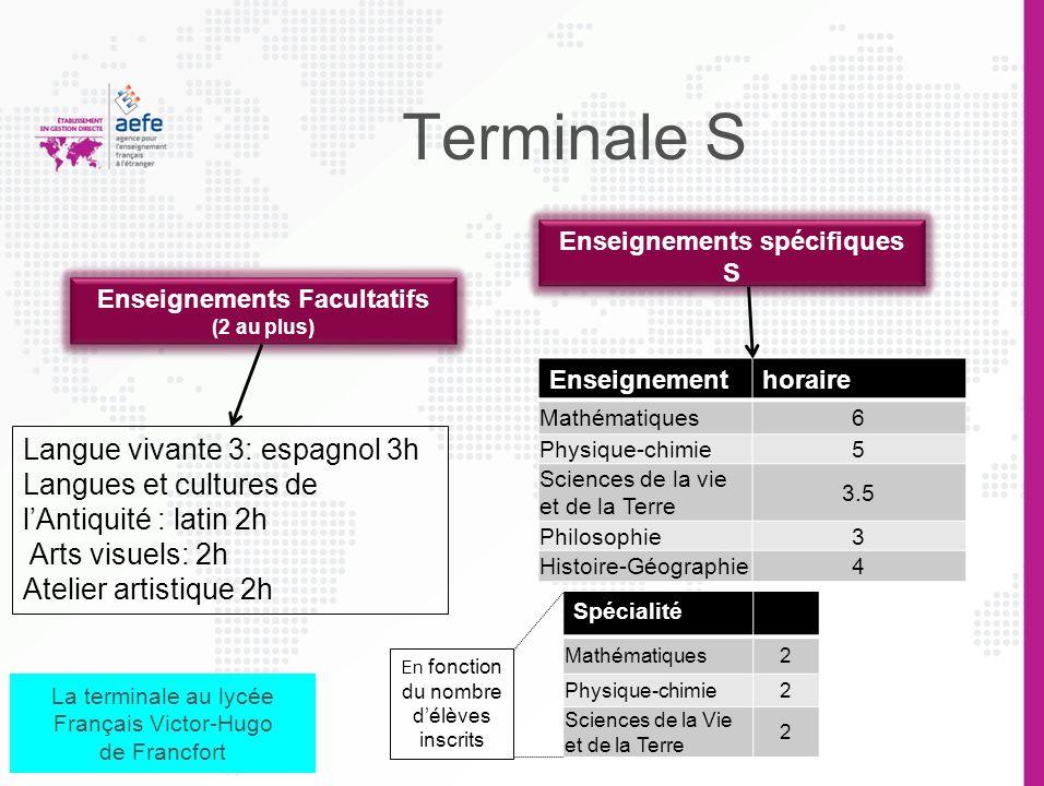 Terminale ES Enseignements Facultatifs (2 au plus) Enseignements spécifiques ES Enseignementhoraire Sciences économiques et sociales 5h Mathématiques4