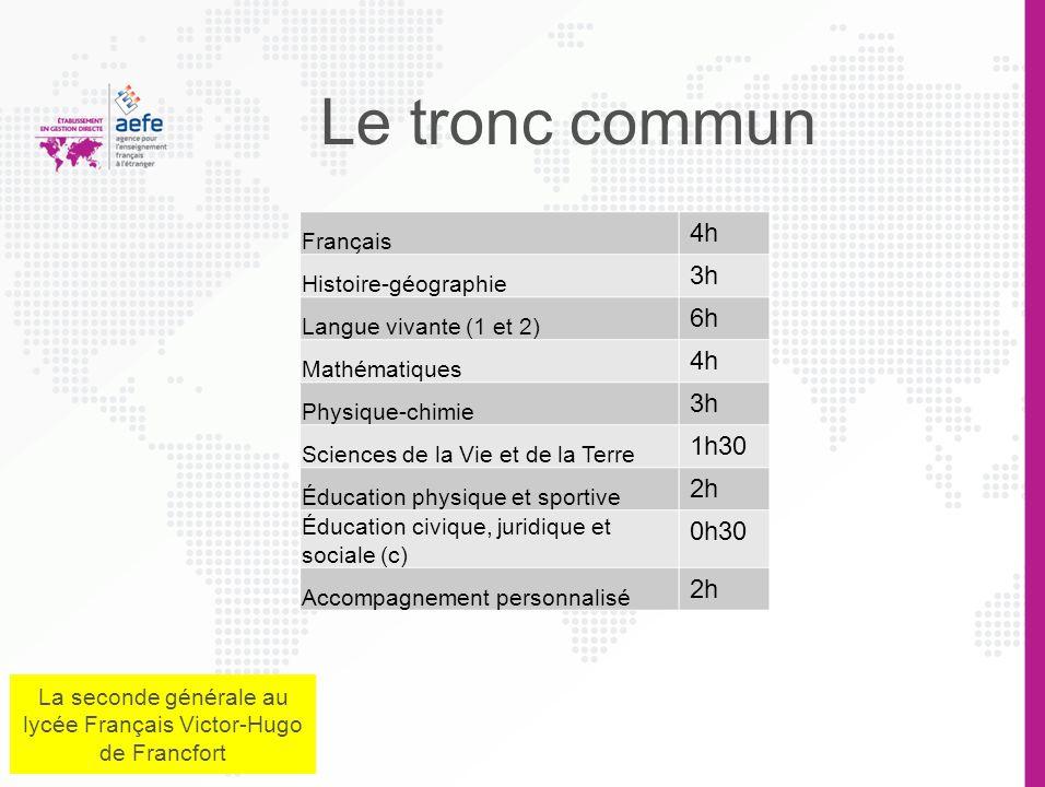 Organisation générale en 2 e 2 Enseignements dexploration Un tronc commun 1 section européenne ou abibac ou LCA 1 section européenne ou abibac ou LCA
