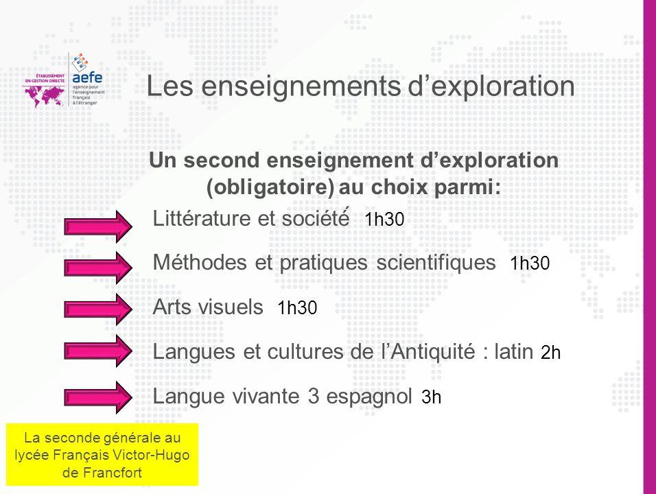 Les enseignements dexploration Un premier enseignement (obligatoire) au choix parmi: Sciences économiques et sociales 1h30 Principes fondamentaux de l