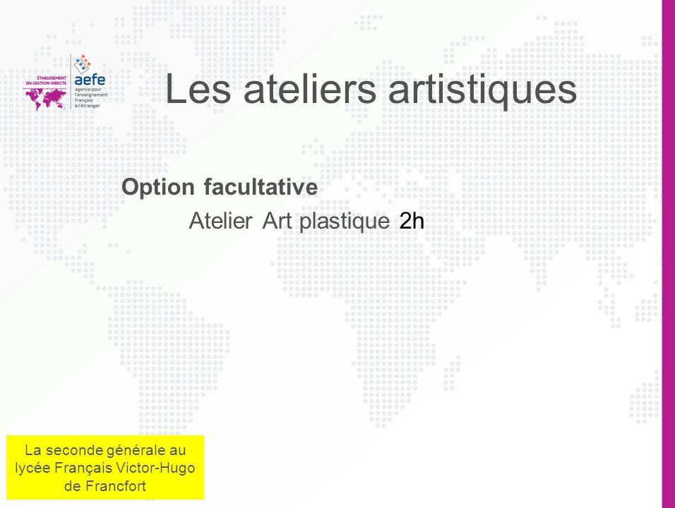 Les ateliers artistiques Option facultative Atelier Art plastique 2h La seconde générale au lycée Français Victor-Hugo de Francfort