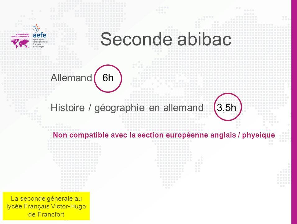 Anglais européen 2h Sciences physiques en anglais 1h30 Non compatible avec la section abibac La section européenne anglais / Physique La seconde génér