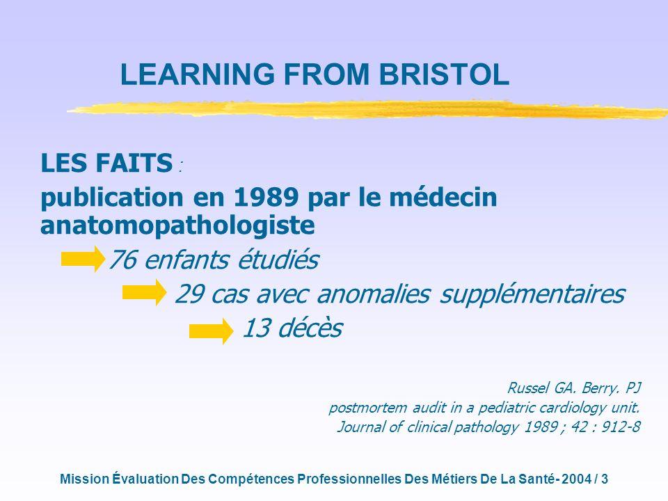 Mission Évaluation Des Compétences Professionnelles Des Métiers De La Santé- 2004 / 3 LES FAITS : publication en 1989 par le médecin anatomopathologiste 76 enfants étudiés 29 cas avec anomalies supplémentaires 13 décès Russel GA.