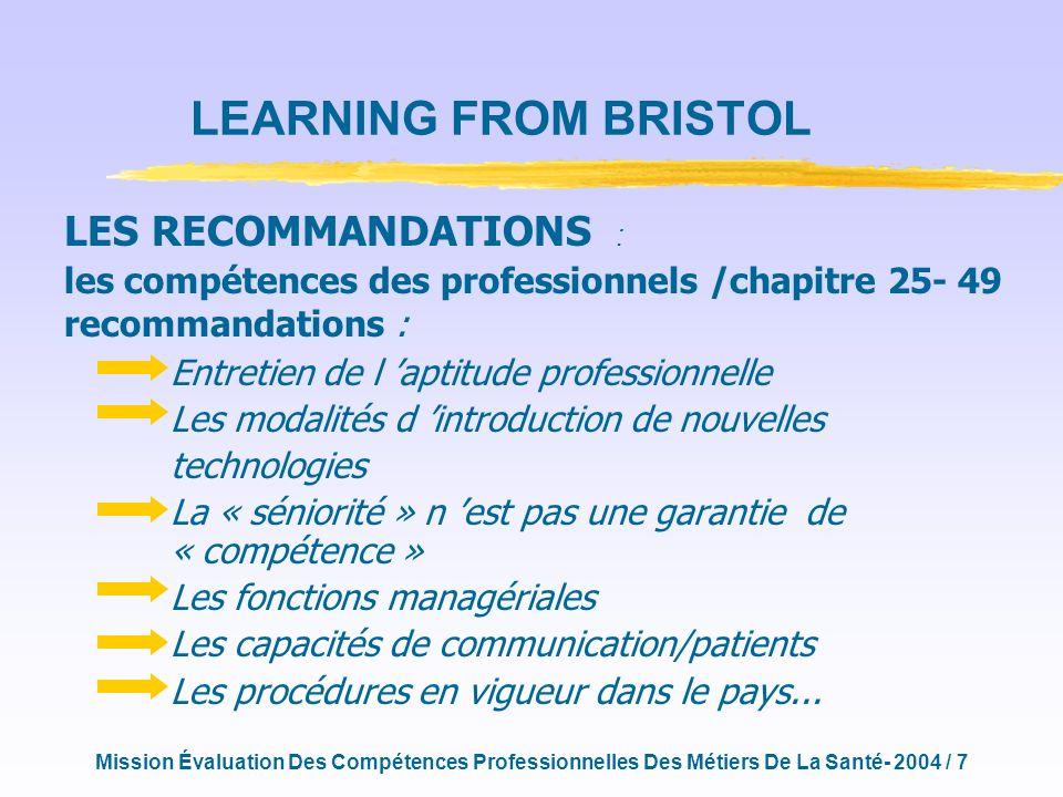 Mission Évaluation Des Compétences Professionnelles Des Métiers De La Santé- 2004 / 18 MERCI POUR VOTRE ATTENTION ymatillon@free.fr