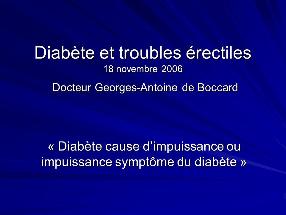 Diabète et troubles érectiles 18 novembre 2006 Docteur Georges-Antoine de Boccard « Diabète cause dimpuissance ou impuissance symptôme du diabète »