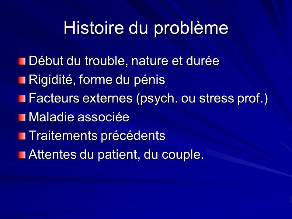 Histoire du problème Début du trouble, nature et durée Rigidité, forme du pénis Facteurs externes (psych. ou stress prof.) Maladie associée Traitement