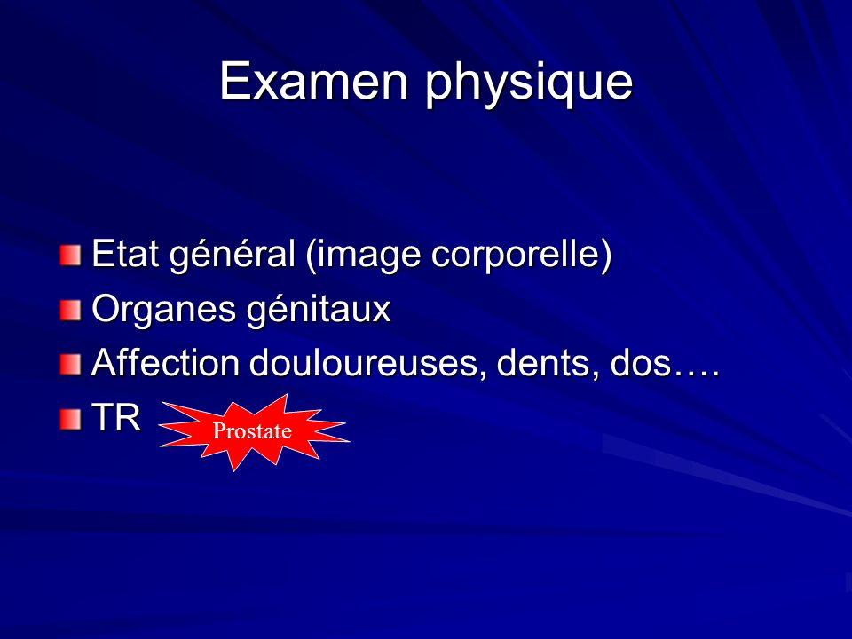Examen physique Etat général (image corporelle) Organes génitaux Affection douloureuses, dents, dos…. TR Prostate