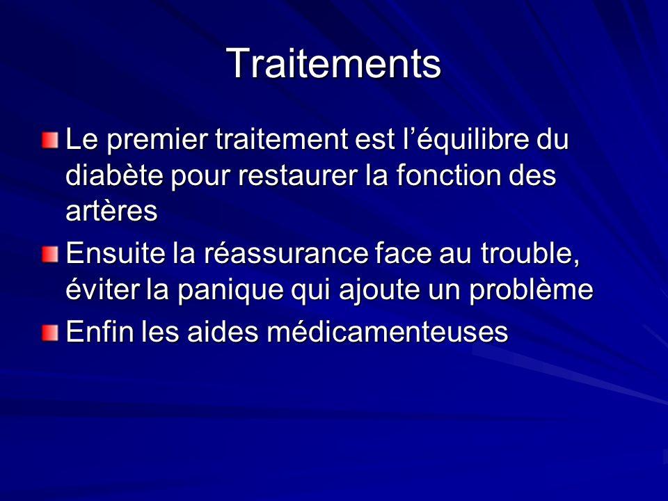 Traitements Le premier traitement est léquilibre du diabète pour restaurer la fonction des artères Ensuite la réassurance face au trouble, éviter la panique qui ajoute un problème Enfin les aides médicamenteuses