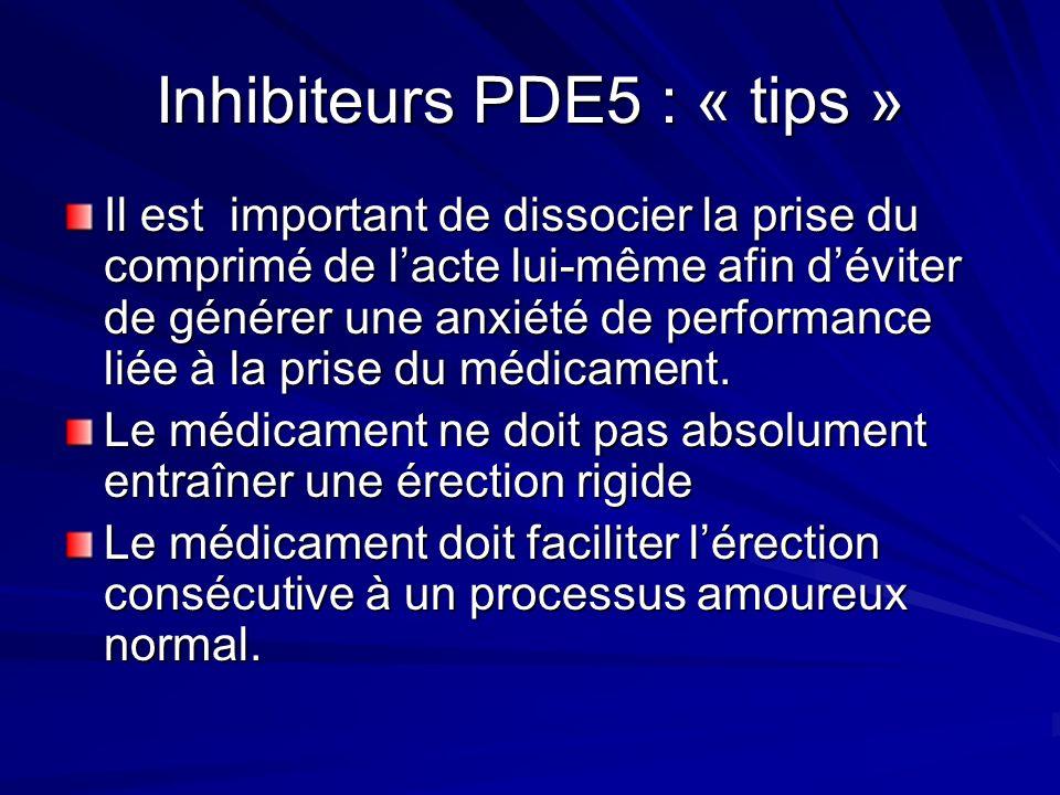 Inhibiteurs PDE5 : « tips » Il est important de dissocier la prise du comprimé de lacte lui-même afin déviter de générer une anxiété de performance liée à la prise du médicament.