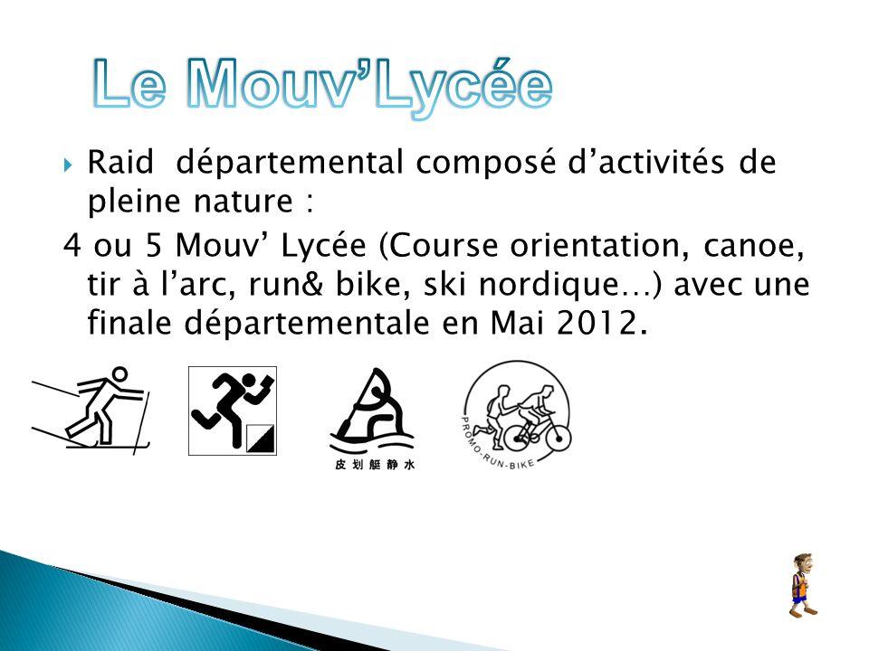 Raid départemental composé dactivités de pleine nature : 4 ou 5 Mouv Lycée (Course orientation, canoe, tir à larc, run& bike, ski nordique…) avec une finale départementale en Mai 2012.