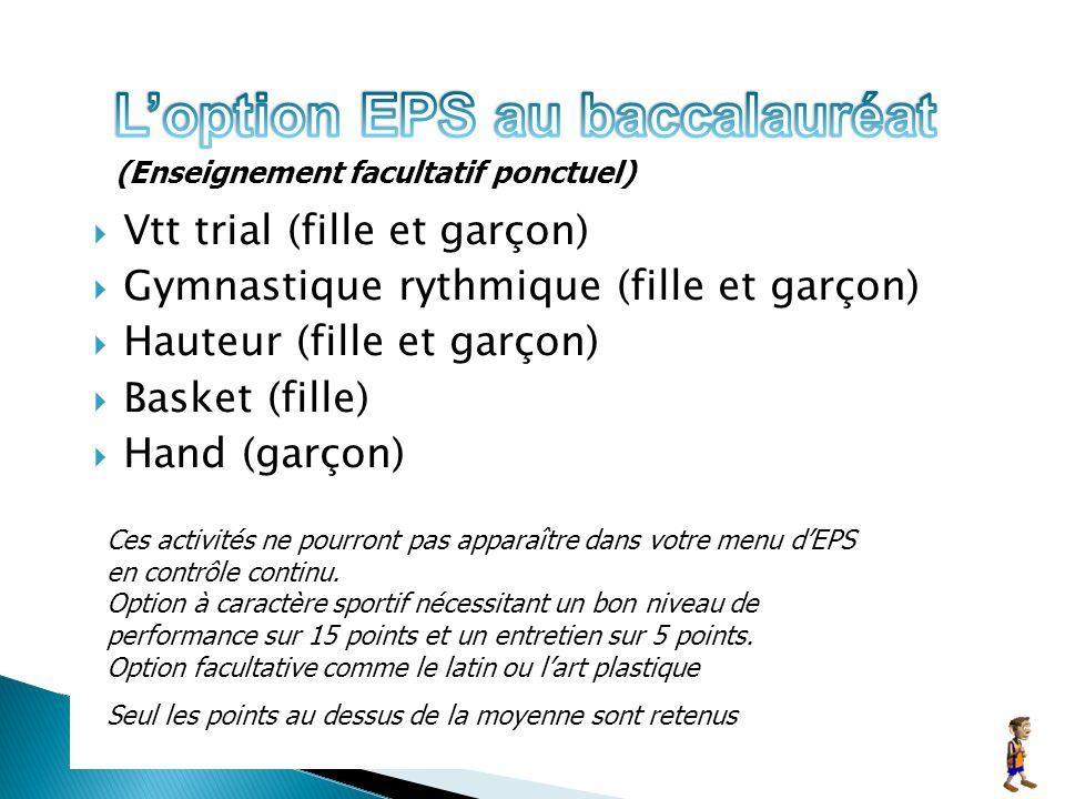 Vtt trial (fille et garçon) Gymnastique rythmique (fille et garçon) Hauteur (fille et garçon) Basket (fille) Hand (garçon) Ces activités ne pourront pas apparaître dans votre menu dEPS en contrôle continu.