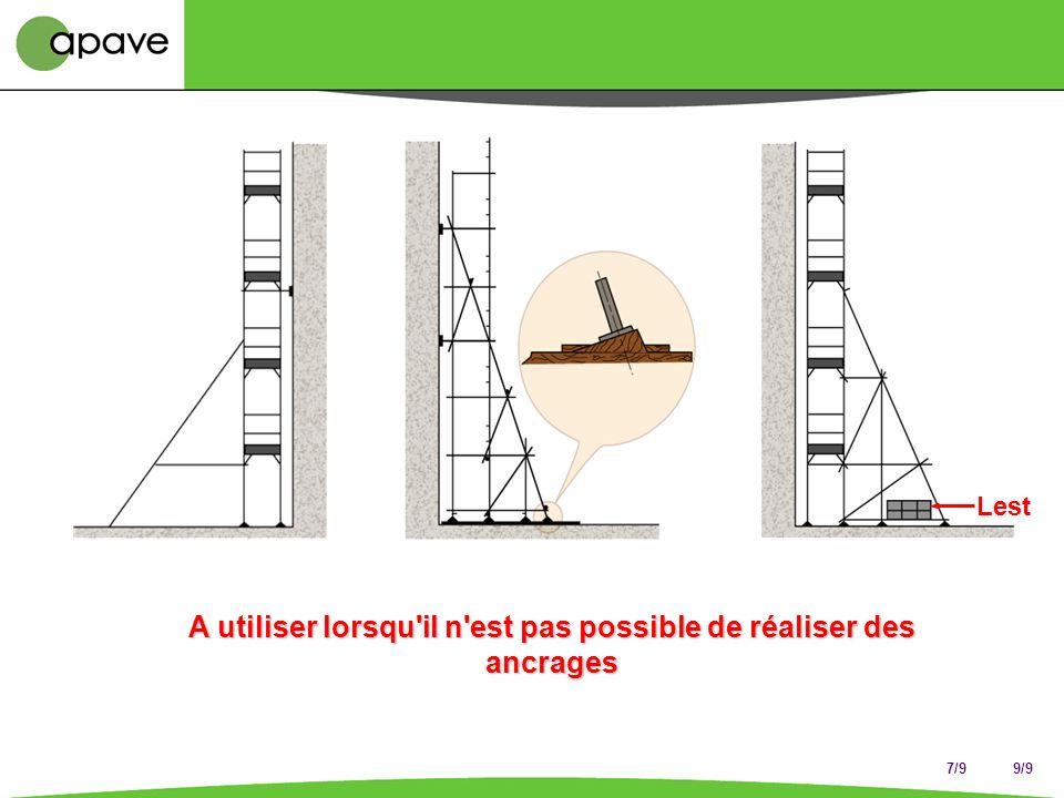 3/9 En l'absence d'étude spécifique Un amarrage pour 24 m 2 Échafaudage non bâché 8 m 3 m 8 m Espacement vertical sur poteau maxi 8 m Disposition en q