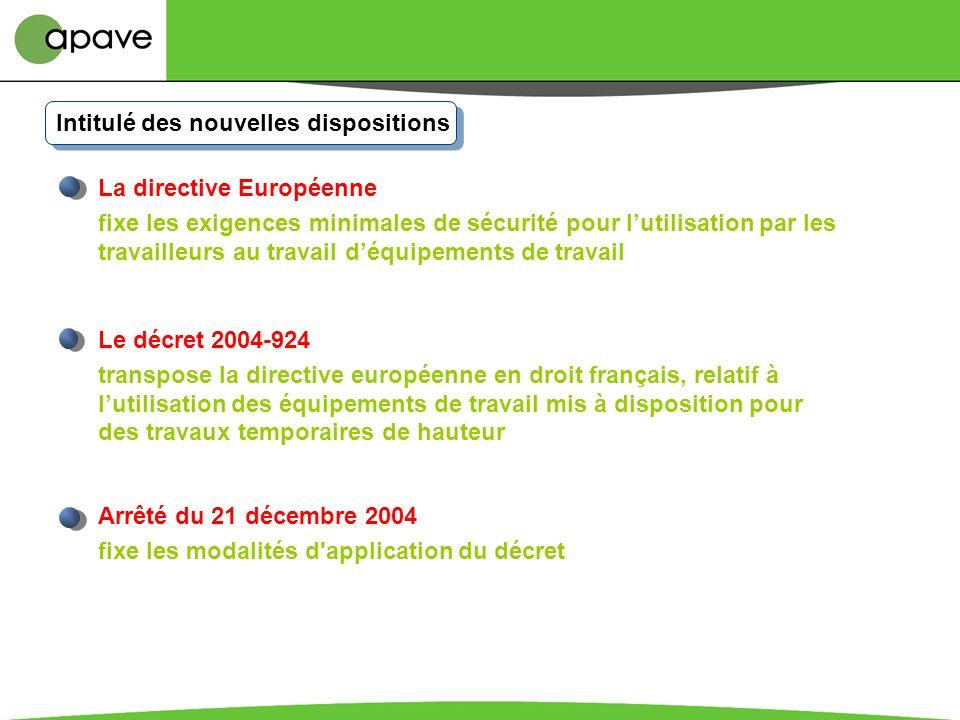 Nouveaux textes Directive européenne 2001/45/CE du 24 juin 2001 Décret 2004-924 du 1er septembre 2004 Arrêté du 21 décembre 2004