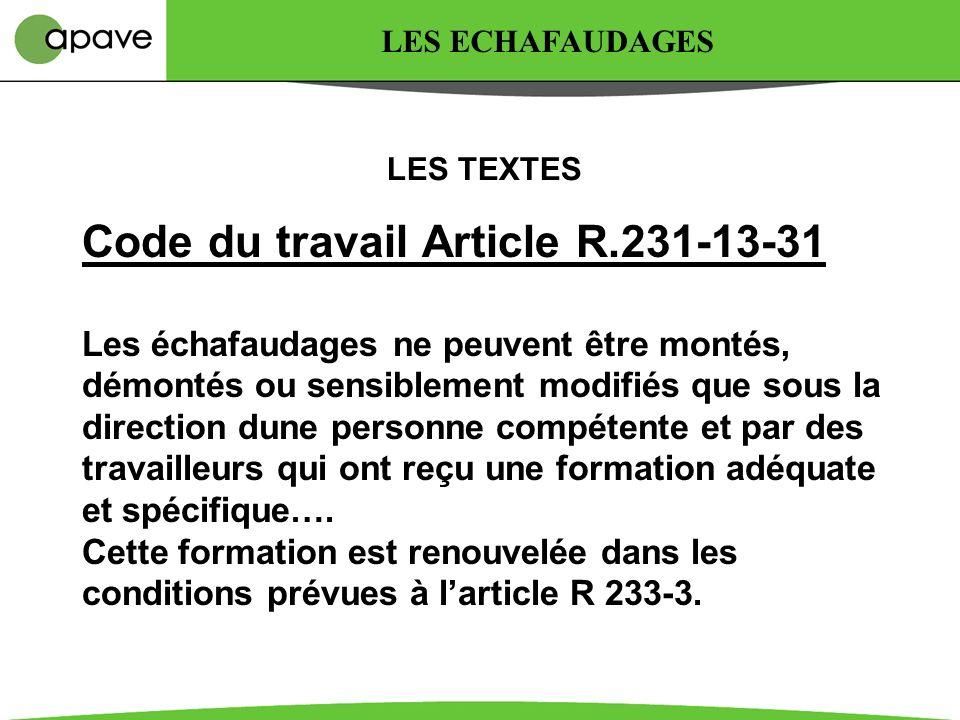 Modifications apportées Le décret 2004-924 intègre de nouvelles dispositions dans le Code du Travail Articles R233-13-20 à R233-13-37 Le décret 2004-9