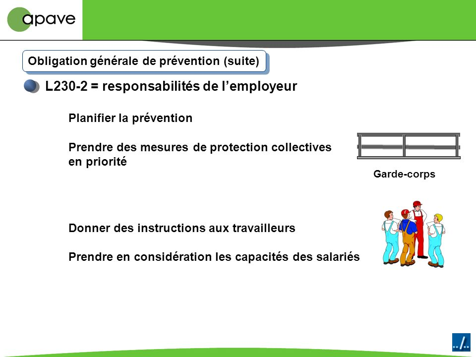 Obligation générale de prévention Hiérarchie Employeur L230-2 = responsabilités de lemployeur Assurer la sécurité des travailleurs Éviter les risques