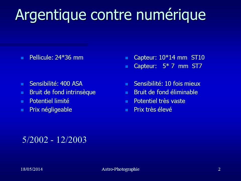 18/05/2014Astro-Photographie23 Techniques de prise d image n Collimation n Focalisation n Auto-guidage n Prise d images