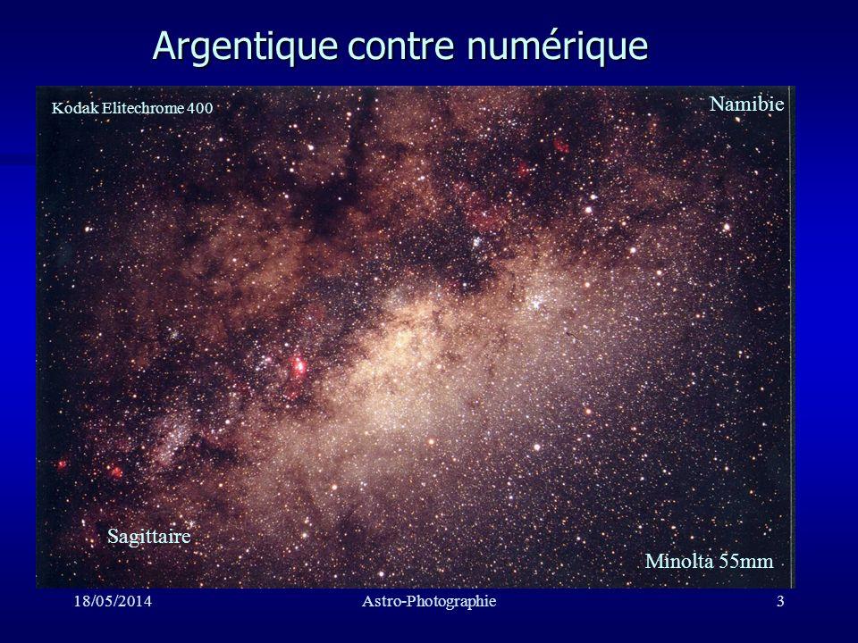 18/05/2014Astro-Photographie34 Pollution lumineuse n Pour l argentique très gênante n Pour une ST peu gênante: –c est le grand avantage du numérique
