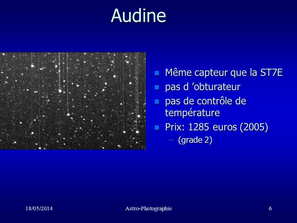 18/05/2014Astro-Photographie17 Monture à fourche C8 n Erreur périodique très faible n Stabilité limitée
