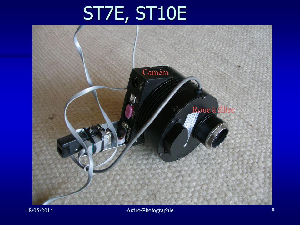 18/05/2014Astro-Photographie9 Charactéristiques ST7 et ST10 n ST7: Capteur: 4,6*6,9 mm2, ST10: 10*14,9 mm2 ST7: 9*9 ST10 ST7: 9*9 ST10 n ST7: 765*510 pixel, ST10: 2184*1472 pixel n Température min: -30°C réglée n Autoguidage avec 2ème capteur n Option: Roue à filtres n Logiciels: CCDOPS, CCDSOFT