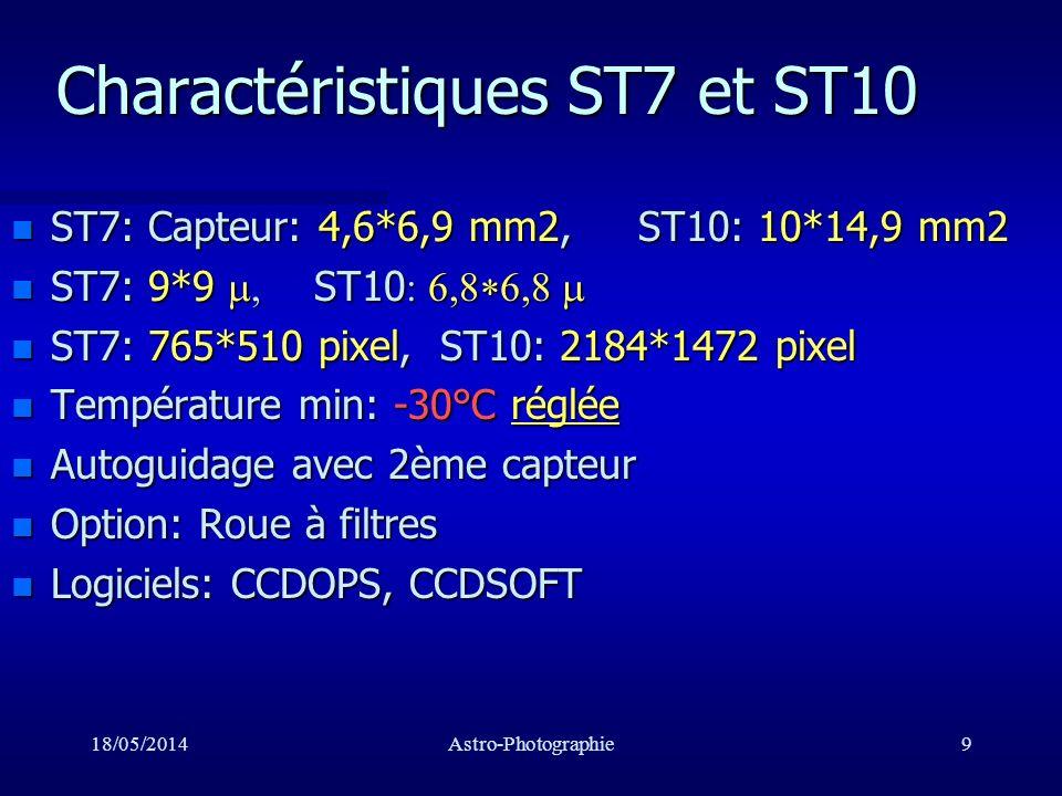 18/05/2014Astro-Photographie10 Caractéristiques ST7 et ST10 n Champs avec un C8/10: –ST7: 12*8 min arc –ST10: 25*17 min arc n Résolution avec un C8/10: –ST7: 0.9 sec arc –ST10: 0.7 sec arc n Magnitude limite: –m=20 : C8 Montagne de Lure –m=18 : C8 SMU