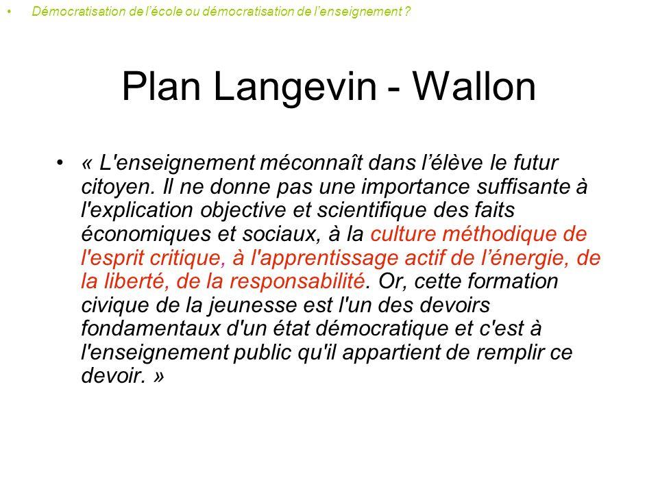 Plan Langevin - Wallon « Tous les enfants, quelles que soient leurs origines familiales, sociales, ethniques, ont un droit égal au développement maximum que leur personnalite comporte.