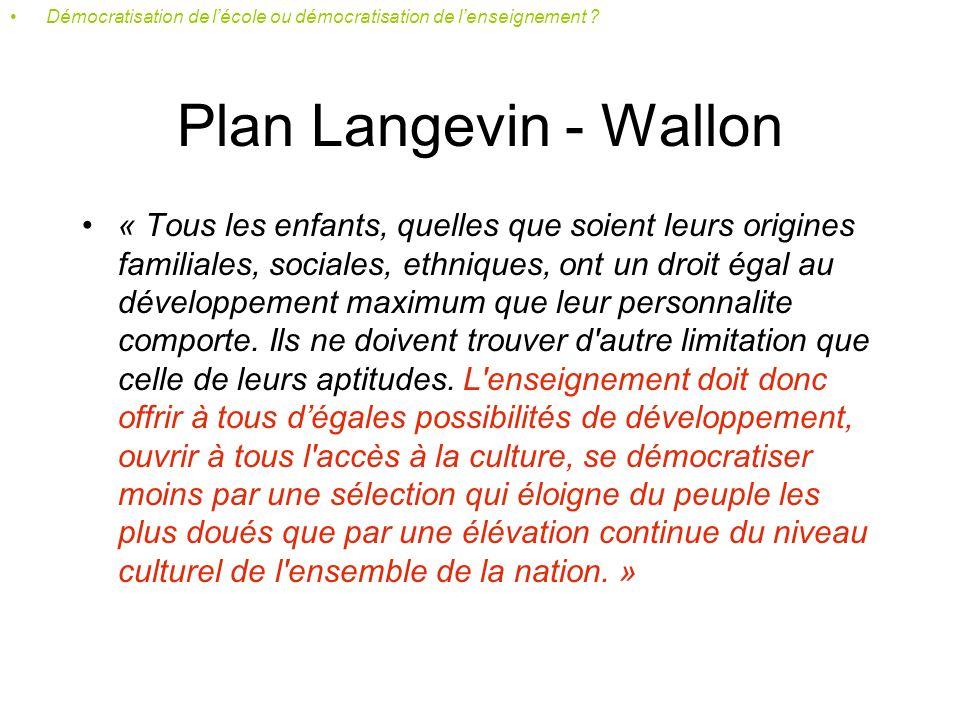 De Langevin-Wallon à Haby Démocratisation de lécole ou démocratisation de lenseignement ?