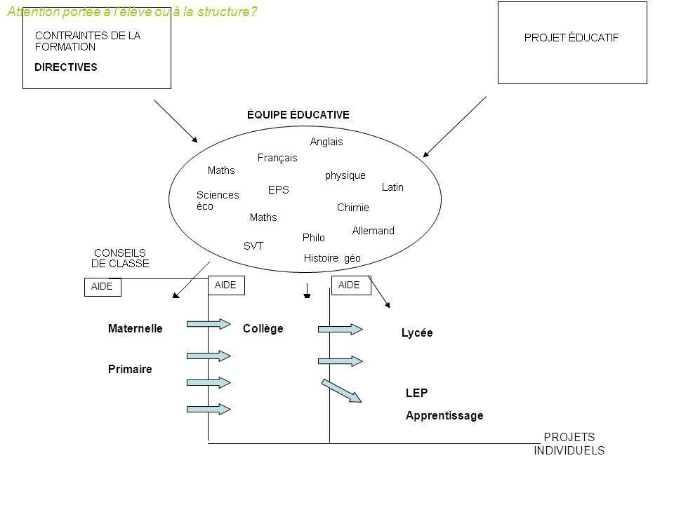 TPETPE VIE DE CLASSE TPE ECJS Maternelle Primaire Lycée LEP Apprentissage AIDES IDDTPE PPCP AIDES Collège Attention portée à lélève ou à la structure?
