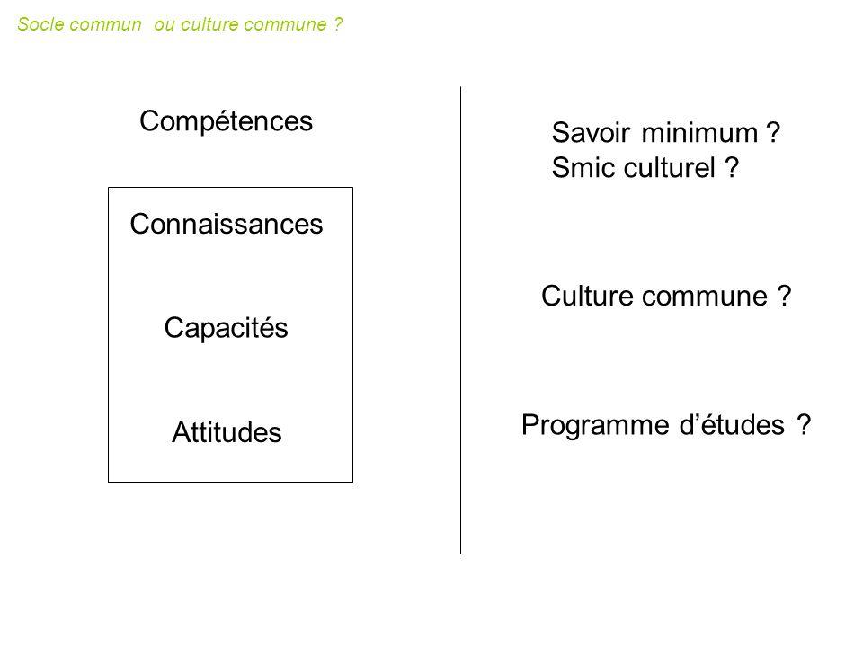 socle commun constitu é d un ensemble de connaissances et de comp é tences Le socle commun s organise en sept comp é tences.
