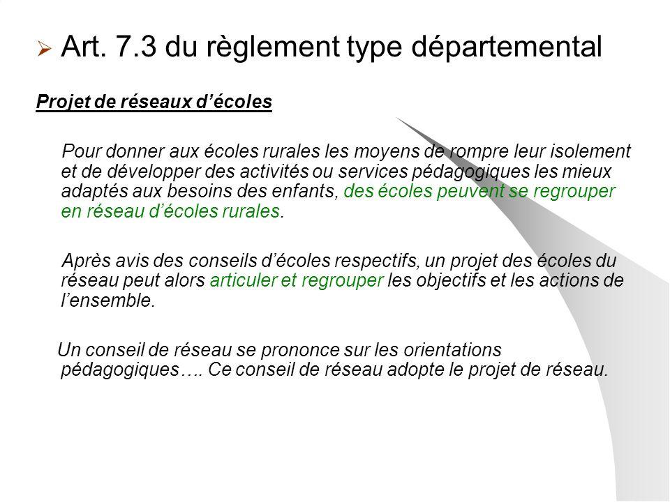 Art. 7.3 du règlement type départemental Projet de réseaux décoles Pour donner aux écoles rurales les moyens de rompre leur isolement et de développer