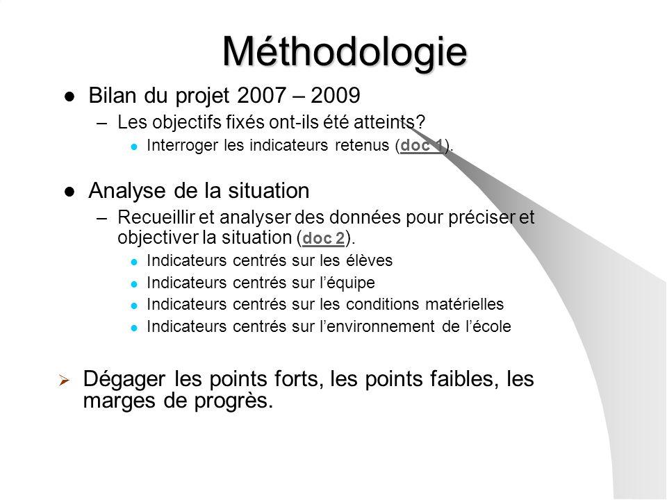 Bilan du projet 2007 – 2009 –Les objectifs fixés ont-ils été atteints? Interroger les indicateurs retenus (doc 1).doc 1 Analyse de la situation –Recue