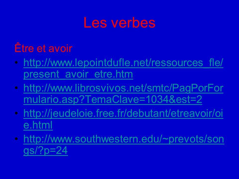 Jeux Les nombres http://jeudeloie.free.fr/debutant/chiffre/oie.ht ml Le corps humain (Lexique) http://vclass.mtsac.edu/french1/Lessons6_ 7/partiescorps.htmhttp://vclass.mtsac.edu/french1/Lessons6_ 7/partiescorps.htm Jeu du pendu ( le corps) http://www.quia.com/hm/22757.html