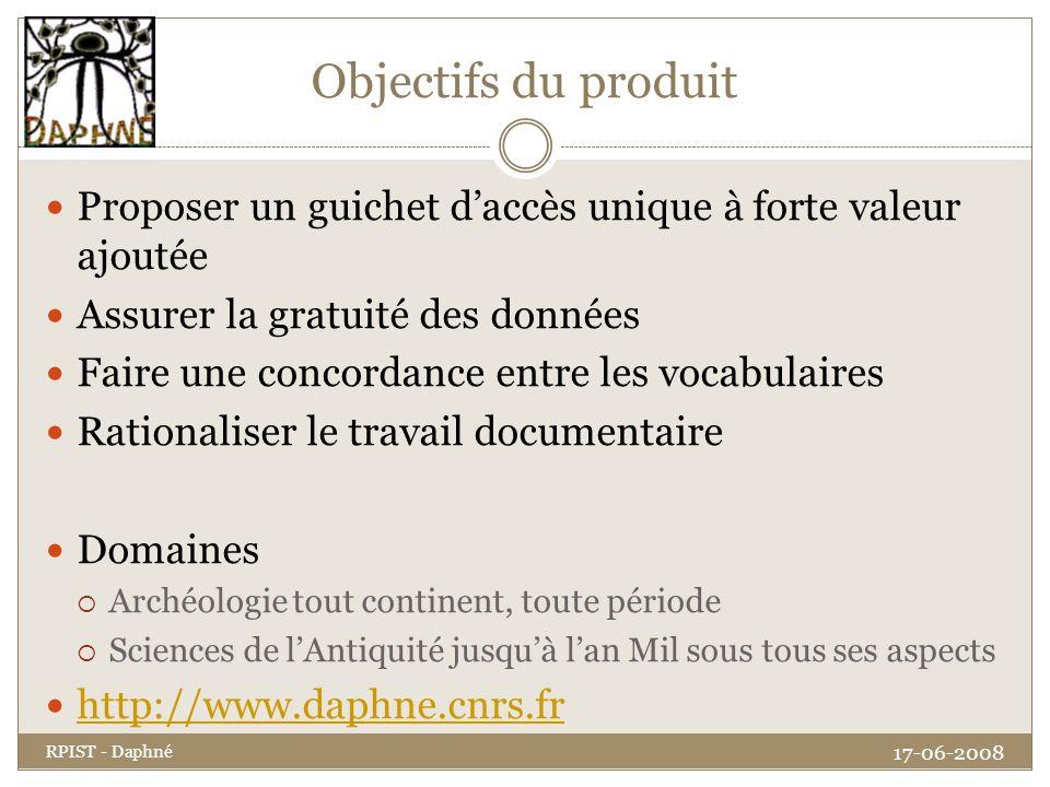 Objectifs du produit Proposer un guichet daccès unique à forte valeur ajoutée Assurer la gratuité des données Faire une concordance entre les vocabula