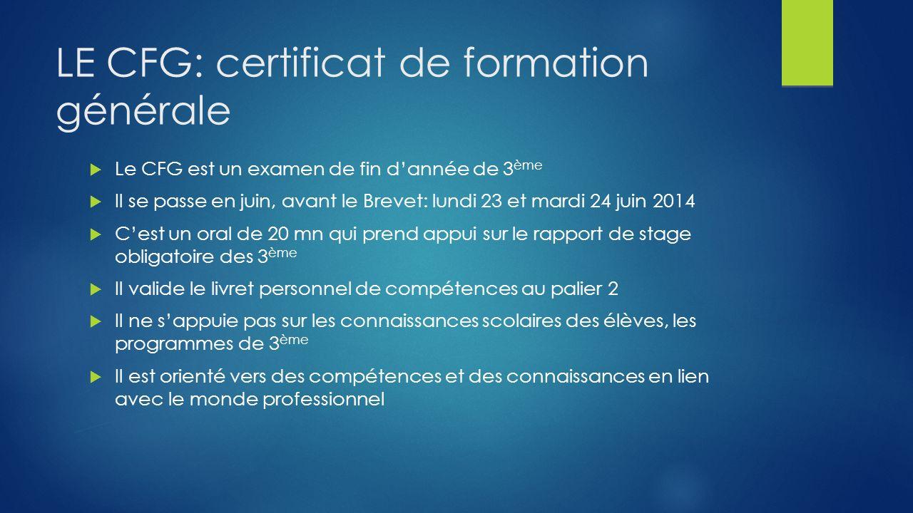 LE CFG: certificat de formation générale Le CFG est un examen de fin dannée de 3 ème Il se passe en juin, avant le Brevet: lundi 23 et mardi 24 juin 2